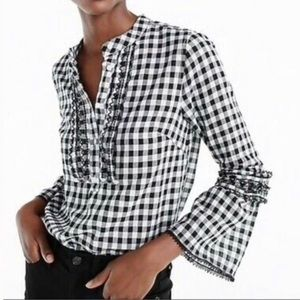 J. Crew Collection Gingham Plaid Bell Sleeve Top
